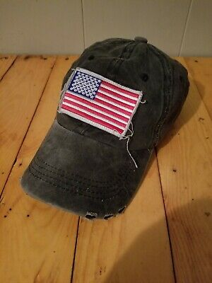 829d889be7d98 AMERICAN FLAG DISTRESSED Vintage Ball Cap - Black -  16.50
