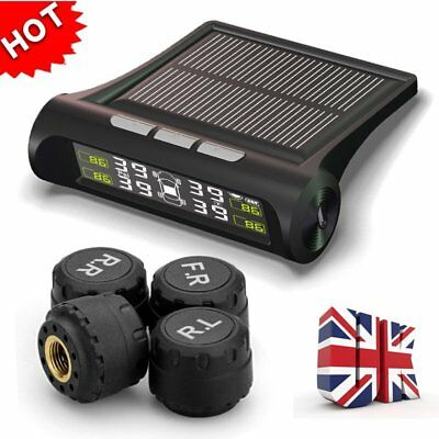 Solar Wireless Car Tire Pressure Monitoring System LCD TPMS with 4 Sensors UK