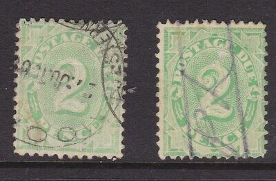AUSTRALIA EARLY 1901-12 2d Green POSTAGE DUE X2 FINE USED (HB36)