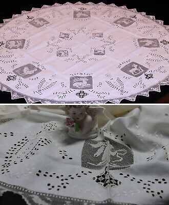 """Antique Tablecloth Mixed Needle Lace 56""""RD Punto Traffore figural Beautiful"""