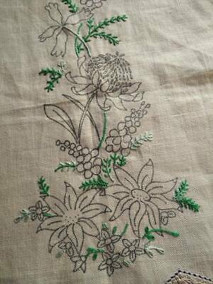 Australian Wild Flowers ~ transfer/started  Vintage Hand Embroidered Centrepiece