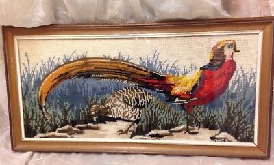Vintage Framed Needlepoint Embroidery Art Pheasant Game