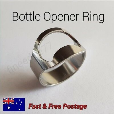 Metal Silver Stainless Steel Finger Thumb Ring Beer Bottle Opener Bar Tool