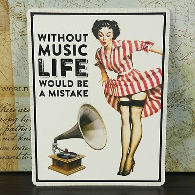 Music Pin Up Girl Inspirational Quote Metal Plaque Vintage Wall Shabby Chic Sign
