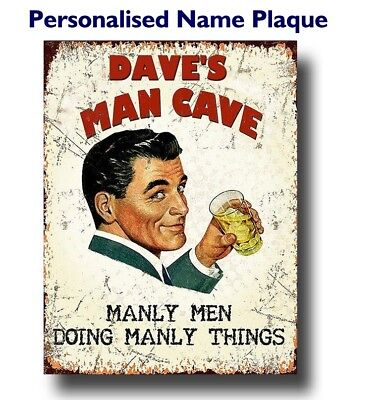 PERSONALISED Man Cave Plaque Sign Vintage retro style wall door shed garage gift