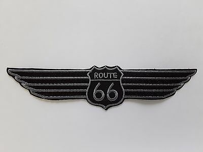 """1 pc Shield shape Route 66 on wing emb patch H.2-3/8""""xW.10-1/4"""" sew/iron on"""