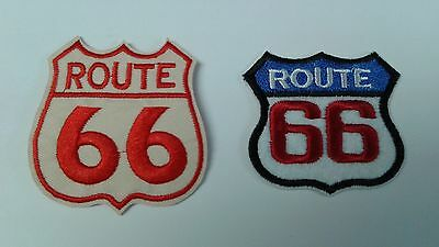 1 + 1 pc Route 66 in 2 designs biker EMB.PATCHES IRON/SEW-ON