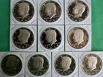 1980 thru 1989 PROOF Kennedy Half Coin Collection 10 Coins Fifty Cents 50c Lot