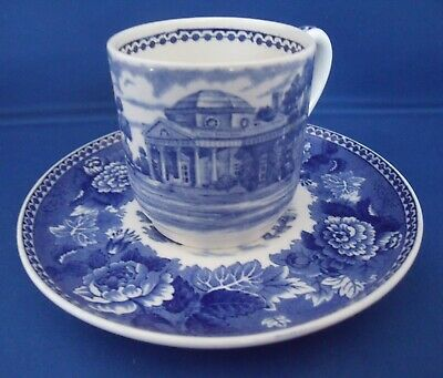 Monticello Jefferson Wedgwood Blue Willow Tea Coffee Demitasse Cup & Saucer