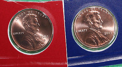 2013 P and D Lincoln Cent 2-Coin from US Mint Set UNC Blister PK One Cent Penny