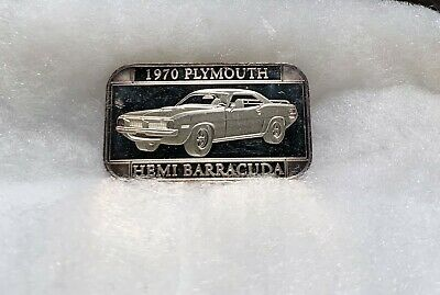 1970 Plymouth Hemi Barracuda 1 Troy Oz .999 Fine Silver Bar - Toned