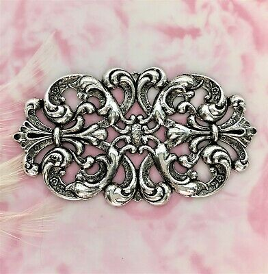 ANTIQUE SILVER Ornate Scroll Flower Cartouche Stamping ~ Jewelry Finding (C-803)