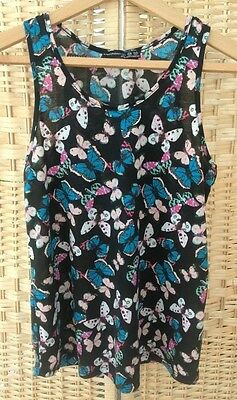 Primark Atmosphere Butterfly Print Vest Top Summer Size 6 Strappy Pink Blue