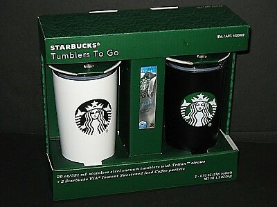 Starbucks Steel 20Oz Tumblers To Go Gift Set With Iced Coffee Packets New Sealed
