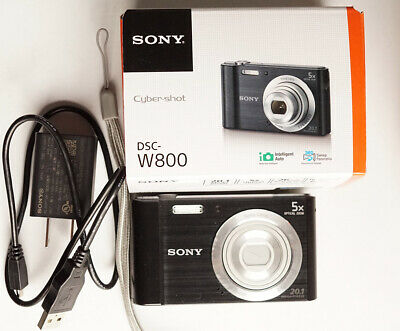 Sony Cyber-shot DSC-W800 20.1MP 720P Black Digital Camera Box Accessories