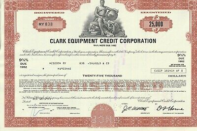 Original Clark Equipments Credit Corporation 25.000$ Share Certificate No RY 838