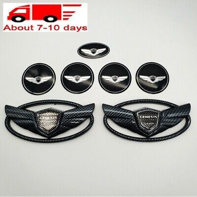 7pcs/Set Black Carbon Fiber Logo Emblem Decal For Hyundai Genesis Coupe Sticker