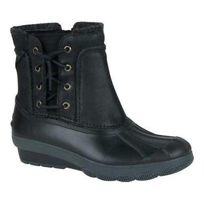 314b9d8181b0 NEW Sperry Top Sider Saltwater Wedge Spray Duck Boot Black Leather Size 10M