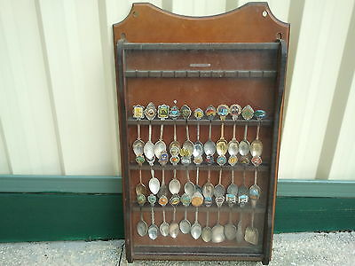 Vintage Bulk Lot 33 Australian Collectable Souvenir Spoons And Display Cabinet