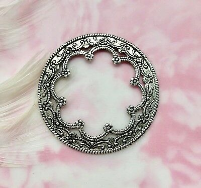 ANTIQUE SILVER (3 Pieces) Round Scallop Filigree Stamping Oxidized (CB-3042)