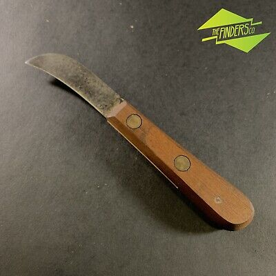 Awesome Vintage Wooden Handled Curved Pruning Knife Blade Marked Old Tools