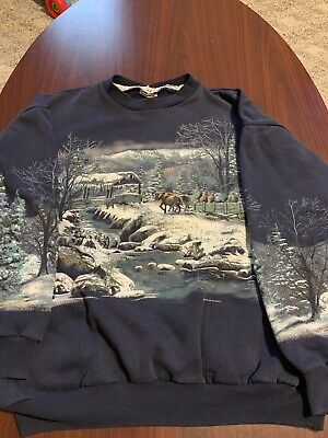 7ad0e5f6a1f3a Vintage Art Unlimited 90's Nature Deer Snow All Over Print Mens Sweatshirt  M USA