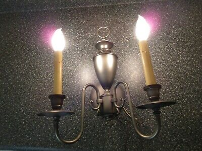 Pair Vtg 60s MOE Pewter Finish Colonial Style High Quality 2-Light Wall Sconces