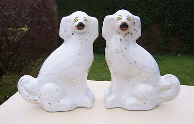 """Pair of Antique Large 13"""" Staffordshire Spaniel Dogs, Mantel/Wally/Pot Dogs"""