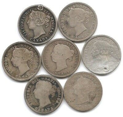 Canada Lot of 7 Silver 10 Cents Coins 1874 H, 1882 H, 1886, 1892, 1898 1899 1900