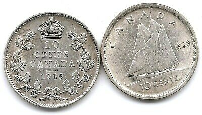 Canada Lot of 2 Silver 10 Cents Coins 1919 & 1938 in Higher Grade