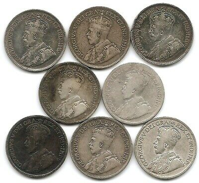 Canada Dealers / Study Lot of 8 1918 Silver 25 Cents Coins King George