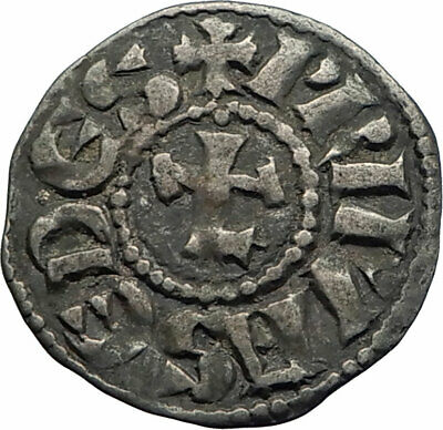 1150AD FRANCE Medieval Ancient LYON Antique Silver French Coin w CROSS i74797