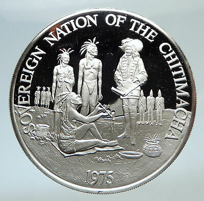 1975 Louisiana Native American CHITIMACHA Tribe US Indians Silver Medal i74798