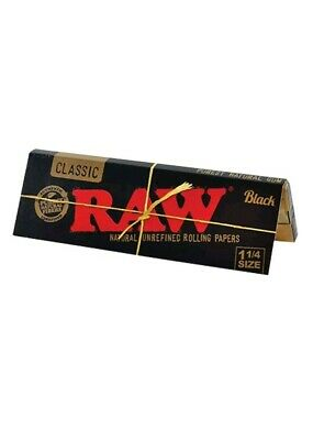 5x Packs Raw Classic Black King Size Slim (32 Leaves Papers Per Pack)