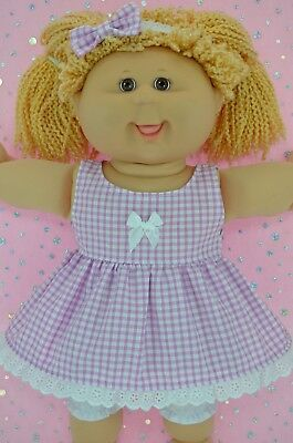 "Play n Wear Doll Clothes For 16"" Cabbage Patch GINGHAM DRESS~BLOOMERS~HEADBAND"