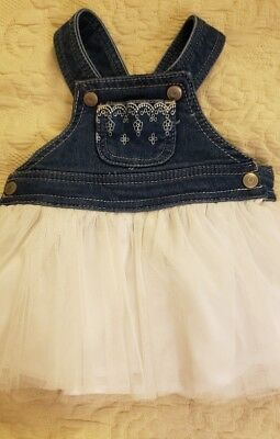 e16aa6206 Macy's First Impressions Baby Girl's Overall White Tulle Dress W/Liner Sz 3 /6M