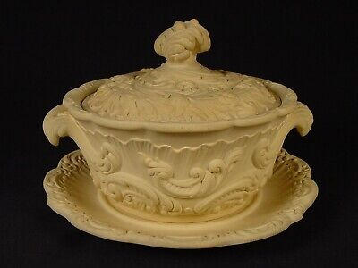 EXTREMELY RARE 1800s ROUND TUREEN with UNDER PLATE CANE CANEWARE YELLOW WARE