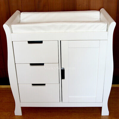 MOOB Lincoln High Quality Solid White Wooden Changing Table with Drawers and Pad