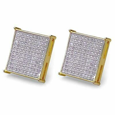 30571434a Iced Out Flat Screen Studs Cz Hip Hop Screw Back Mens 14k Gold Plated  Earrings