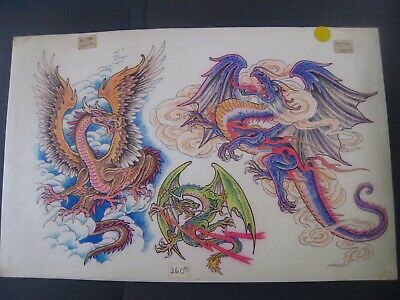 VINTAGE Parlor-Used Tattoo Flash ' DRAGONS BY THE HOUR '..11 X17