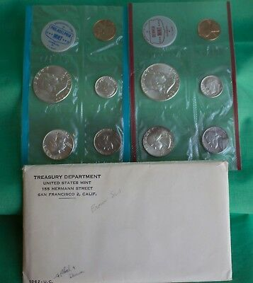 1962 SILVER US Mint Uncirculated P and D 10 Coin with Franklin 50c and Envelope
