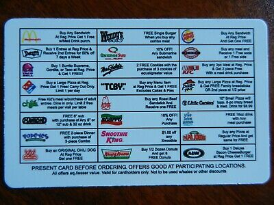Restaurant Fast Food Fundraiser Discount Gift Card - 24 Restaurants