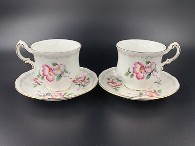 Paragon Wild Rose Small Coffee Tea Cup And Saucer Set of 2 Bone China England