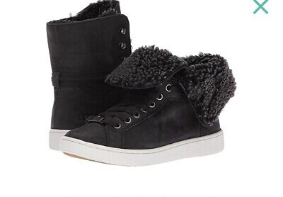 37a85b512c3 UGG WOMENS STARLYN Black Fur High Top Sneakers Size 8.5 New with Box