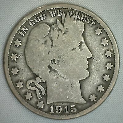 1915 Barber Silver Half Dollar 50 Cent US Type Coin VG