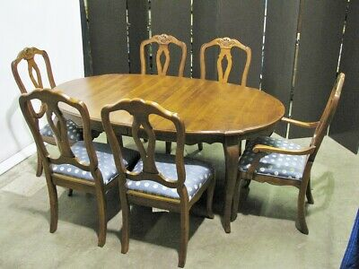 "Ethan Allen ""Country French"" Dining Table, 2 Leaves & 6 Chairs; Solid Cherry"
