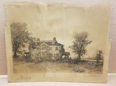 G.H Randall SIGNED Lithograph Henry Longfellow House National Historic Site 1899