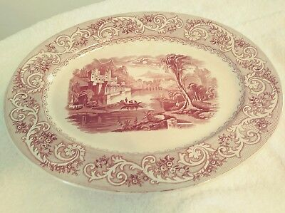 "Antique Oval Brown Scenic Romantic 13 x 16"" Transferware Platter Ca. 1890"
