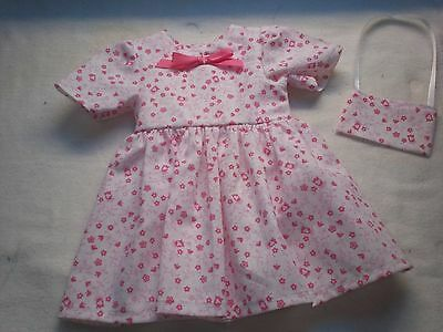 "American Made 18"" Girl Doll Clothes-Pink Flowers on White Short Sleeve Dress"