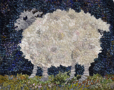 Puffy sheep Rug Hooking complete kit with linen, wool, yarn, hoop and hook